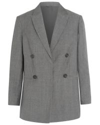 Brunello Cucinelli | Gray Double-breasted Wool And Linen-blend Blazer | Lyst