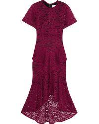 Rebecca Vallance Purple Tiered Guipure Lace Midi Dress