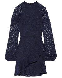 Rebecca Vallance Blue Open-back Ruffled Corded Lace Mini Dress