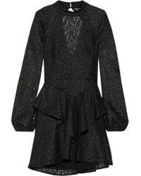 Rebecca Vallance Black Cutout Ruffled Corded Lace Mini Dress