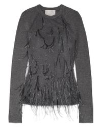Jason Wu Gray Feather-embellished Tulle And Ribbed Wool-blend Sweater