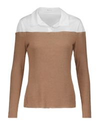 Bailey 44 | Brown Two-tone Cotton-blend Paneled Jersey Sweater | Lyst