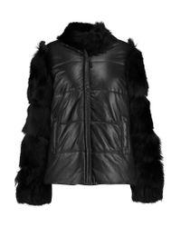 Muubaa | Black Harrow Shearling-paneled Leather Jacket | Lyst