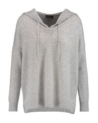 N.Peal Cashmere Gray Cashmere Hooded Sweater