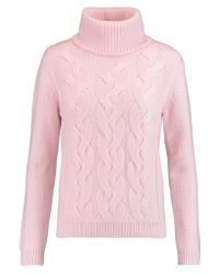 N.Peal Cashmere Pink Cable-knit Wool And Cashmere-blend Turtleneck Sweater