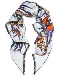 Emilio Pucci   Blue Printed Silk-satin Twill Scarf   Lyst