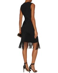 Dion Lee Black Fringed Knitted Mini Dress