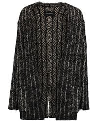 By Malene Birger Black Reversible Intarsia-knit Cardigan