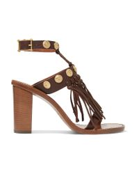 Valentino Brown Studded Fringed Textured-leather Sandals