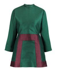 Valentino Green Two-tone Knitted Mini Dress