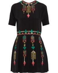 Valentino Black Embroidered Silk Mini Dress