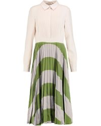 Valentino | White Pleated Crepe Midi Dress | Lyst