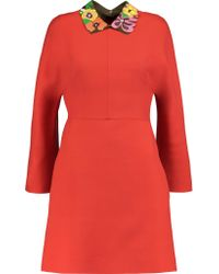 Valentino Orange Leather And Suede-trimmed Wool-blend Mini Dress
