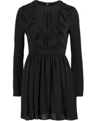 Valentino Black Ruffled Pleated Silk-crepe Mini Dress