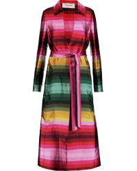 Valentino - Multicolor Striped Silk-twill Coat - Lyst