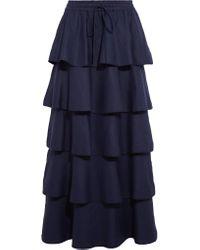 Valentino Blue Tiered Linen Maxi Skirt