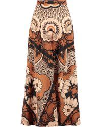 Valentino Brown Printed Silk-crepe Midi Skirt