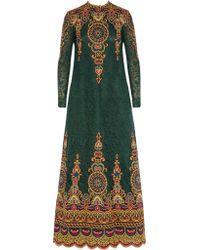 Valentino Green Appliquéd Macramé Lace Maxi Dress