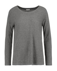 Splendid | Gray Paneled Waffle-knit Sweater | Lyst