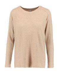Splendid | Natural Paneled Waffle-knit Sweater | Lyst