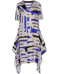 Maison Margiela - Blue Asymmetric Printed Silk Midi Dress - Lyst