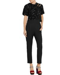 Sonia Rykiel Black Cutout Sequined Knitted Top
