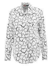 MSGM White Printed Cotton-poplin Shirt