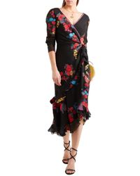 Etro Twist-back Ruffled Asymmetric Silk-blend Jacquard Midi Dress Black