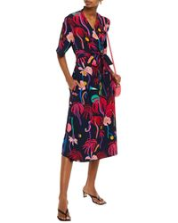 PS by Paul Smith Blue Printed Crepe De Chine Wrap Dress Navy