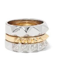 Noir Jewelry | Metallic Set Of Three Gold And Silver-tone Crystal Rings | Lyst
