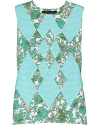 Thakoon - Multicolor Printed Scuba-jersey And Mesh Top - Lyst