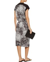 Vince - White Printed Silk-chiffon Dress - Lyst