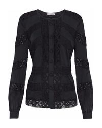 Oscar de la Renta Black Crocheted Lace-paneled Cotton-gauze Blouse