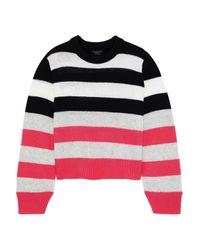 Rag & Bone Annika Striped Cashmere Sweater Bright Pink