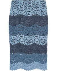 Sandro Blue Jonas Corded Lace Midi Skirt