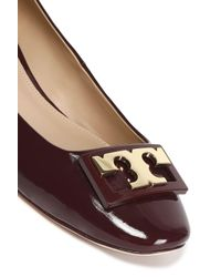 Tory Burch Brown Embellished Patent-leather Pumps