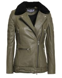 Muubaa Convertible Shearling-trimmed Leather Biker Jacket Grey Green