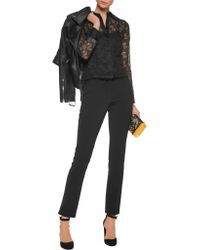 RED Valentino - Black Broderie Anglaise Silk-organza Shirt - Lyst