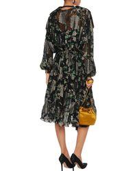 Lanvin Green Tassel-trimmed Metallic Fil Coupé Chiffon Dress