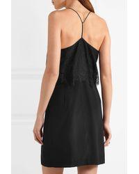 Madewell Black Lace-trimmed Silk Crepe De Chine Mini Dress