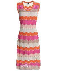 M Missoni Orange Metallic Crochet-knit Dress