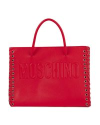 Moschino Whipstitched Embossed Leather Tote Red
