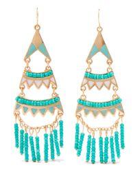 Kenneth Jay Lane | Blue Gold-tone Enamel Beaded Earrings | Lyst