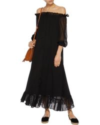 W118 by Walter Baker - Black Nadine Off-the-shoulder Fil Coupé Chiffon Maxi Dress - Lyst