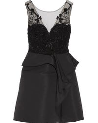Marchesa notte Woman Embellished Tulle And Faille Mini Dress Black Size 8