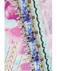 Camilla Embellished Printed Silk Crepe De Chine Kimono Sky Blue