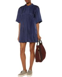 Maison Kitsuné Blue Sara Pleated Satin-twill Mini Dress