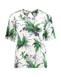Equipment Green Logan Printed Washed-silk Top