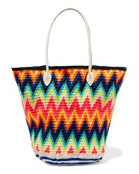 Sophie Anderson Multicolor Jonas Leather-trimmed Crocheted Cotton Tote