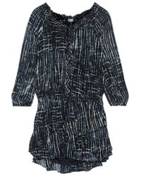 LoveShackFancy Black Ruffled Printed Silk Mini Dress